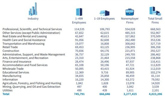 California Small Businesses by Industry and Size